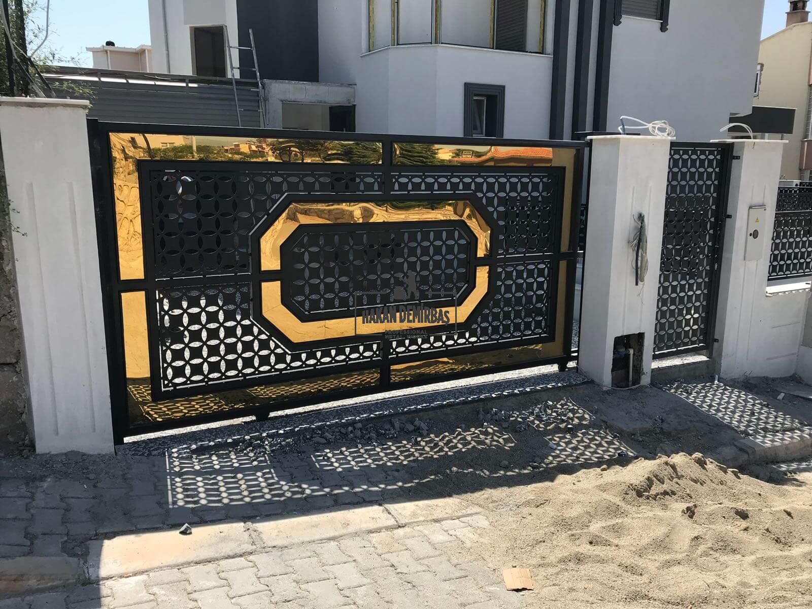 altın varaklı ferforje otopark kapısı - ferforje kapı- hakan demirbaş